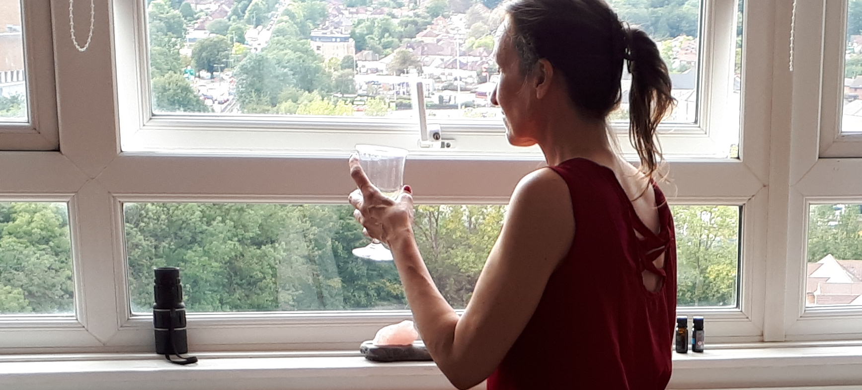 woman with an empty glass
